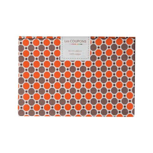 Coupon 40x60 cm coton imprimé pois orange et marron