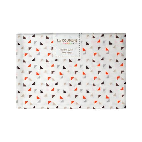 Coupon 40x60 cm coton twini orange et marron