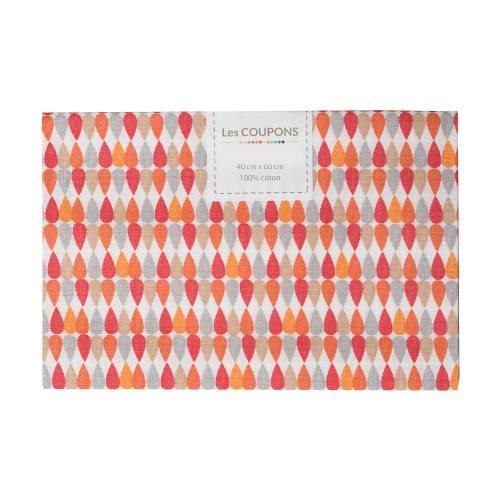 Coupon 40x60 cm coton plima orange