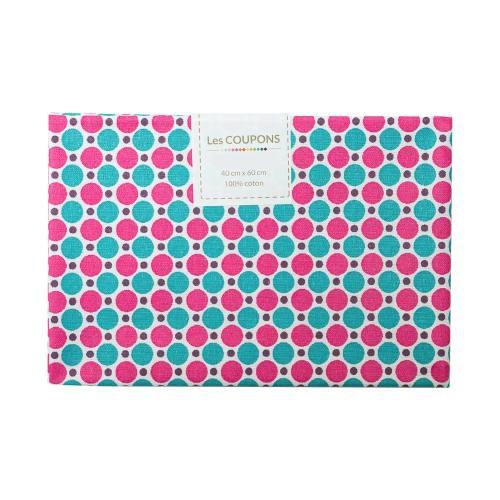 Coupon 40x60 cm coton imprimé pois fuchsia et bleu canard