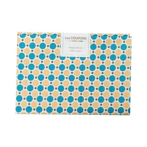 Coupon 40x60 cm coton imprimé pois bleu pétrole et ocre