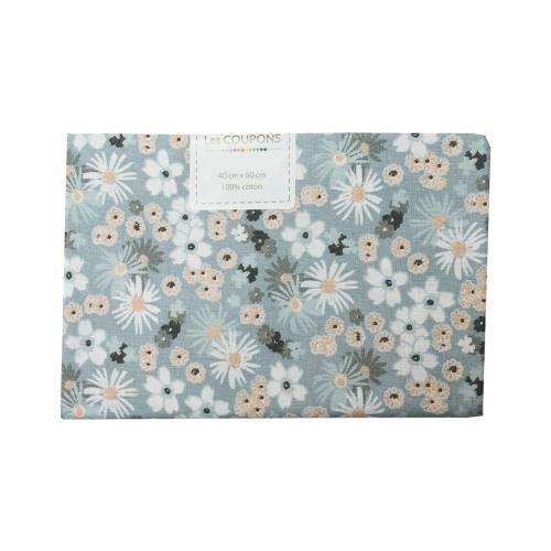 Coupon 40x60 cm coton fleurs zinia grises et beiges