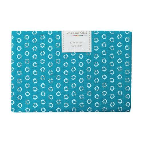 Coupon 40x60 cm coton bleu pétrole pâquerettes blanches