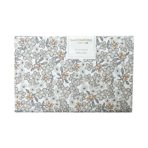 Coupon 40x60 cm coton fleurs lilas grises