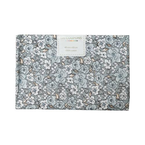 Coupon 40x60 cm coton fleurs kalmia grises