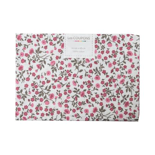 Coupon 40x60 cm coton blanc liberty marron et rose