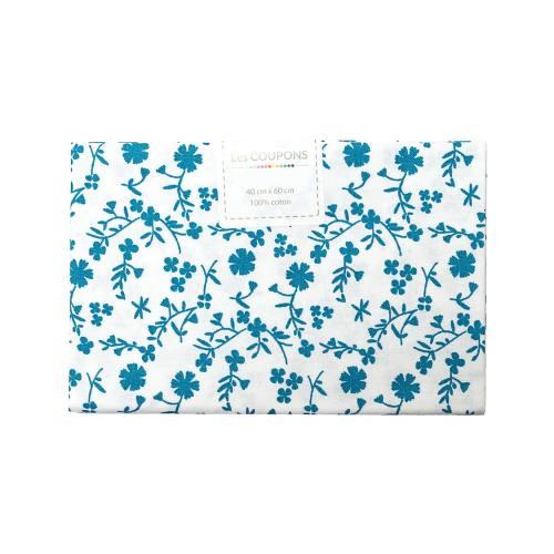 Coupon 40x60 cm coton fleurs margneg bleues