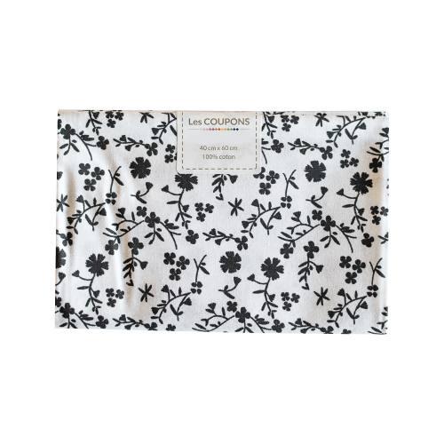 Coupon 40x60 cm coton fleurs margneg noires