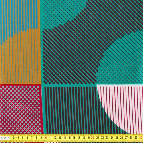 Wax - Tissu africain motif lignes multicolores 7