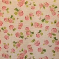 Toile polycoton aspect lin imprimé fleurs roses