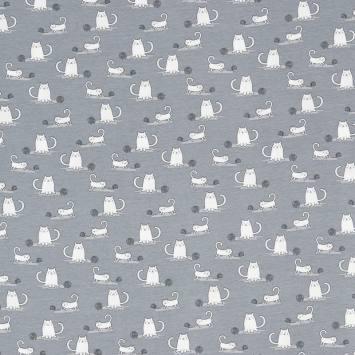 Jersey gris imprimé chat et pelote de laine