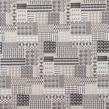 Toile polycoton imprimée géométrique gris grande largeur
