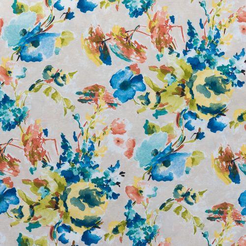 Toile polycoton imprimée aquarelle bleue grande largeur