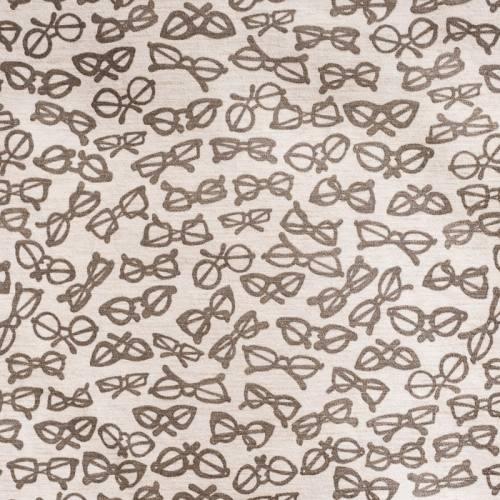 Toile polycoton imprimée lunettes grises grande largeur
