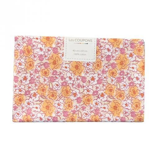 Coupon 40x60 cm coton fleurs kalmia orange