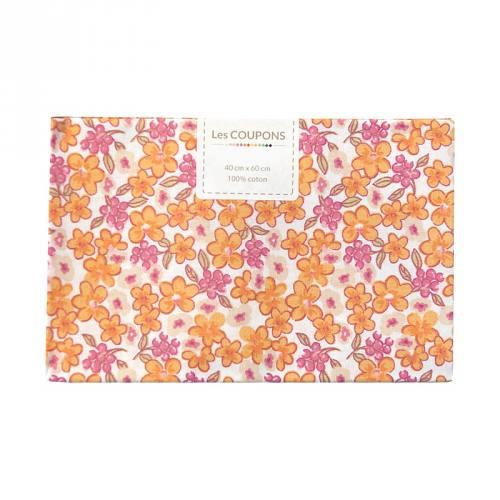 Coupon 40x60 cm coton fleurs lilas orange et roses