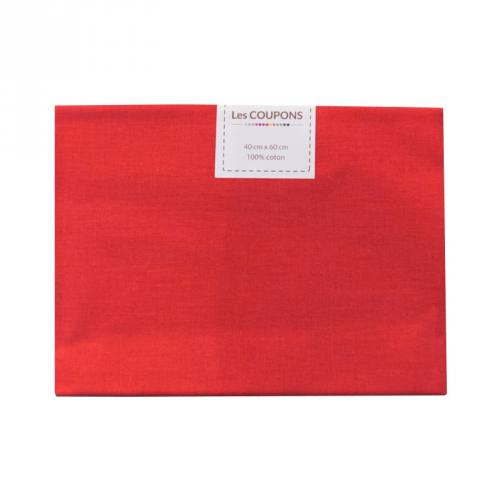 Coupon 40x60 cm coton uni rouge