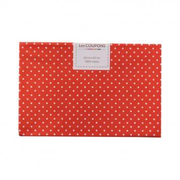 Coupon 40x60 cm coton rouge petits pois 2 mm