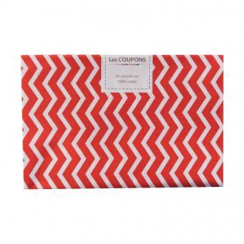 Coupon 40x60 cm coton rouge chevron