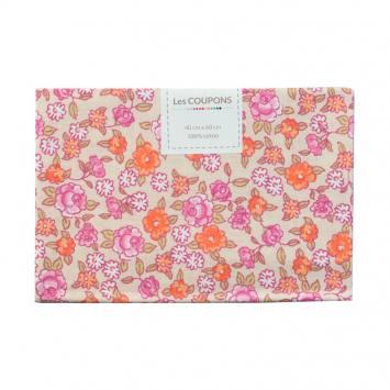 Coupon 40x60 cm coton fleurs sarina roses et beiges