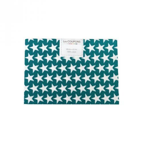 Coupon 40x60 cm coton bleu canard étoiles monroe