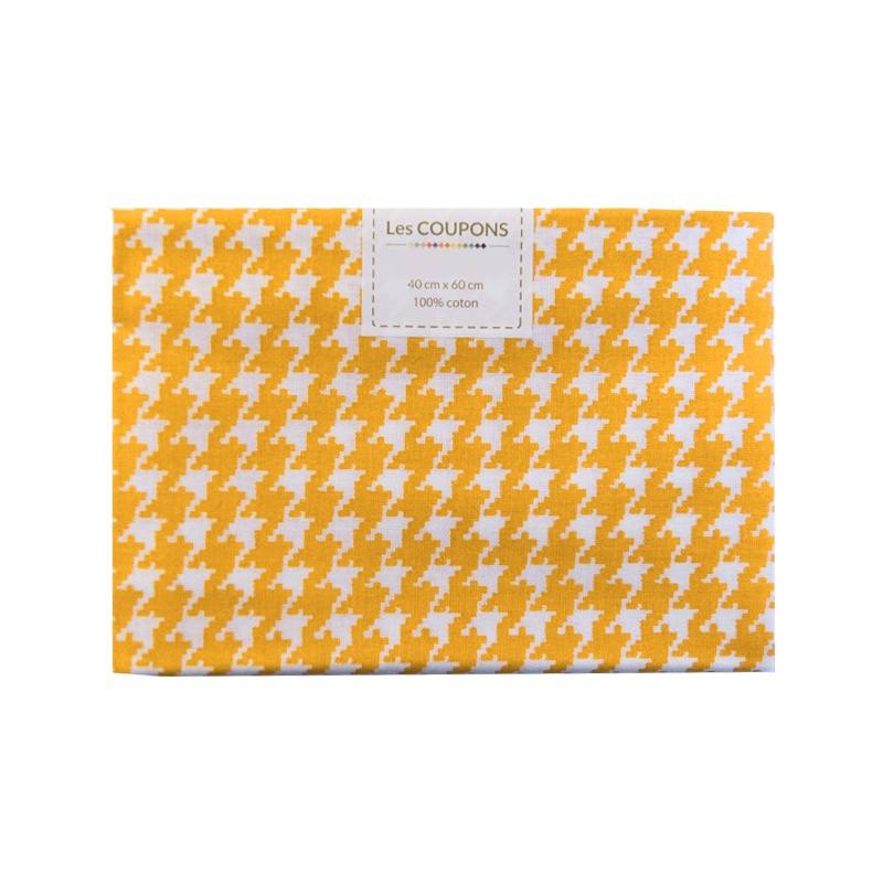 coupon 40x60 cm coton jaune safran pied de poule pas cher. Black Bedroom Furniture Sets. Home Design Ideas