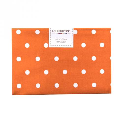 Coupon 40x60 cm coton orange gros pois
