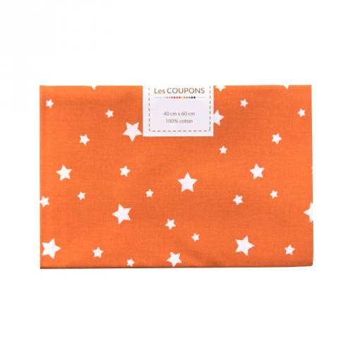 Coupon 40x60 cm coton orange zetoile
