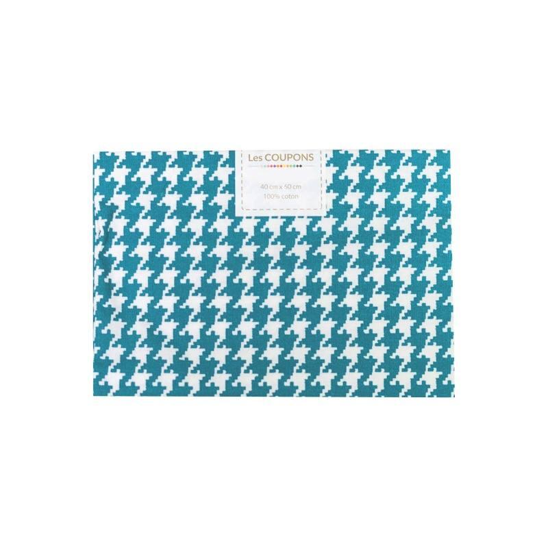 coupon 40x60 cm coton bleu p trole pied de poule pas cher. Black Bedroom Furniture Sets. Home Design Ideas