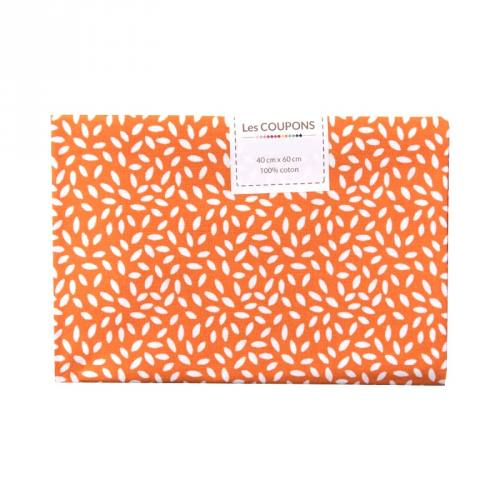Coupon 40x60 cm coton orange grains de riz