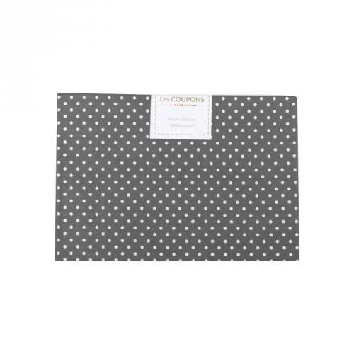 Coupon 40x60 cm coton gris souris petits pois 2mm