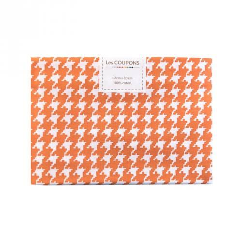 Coupon 40x60 cm coton orange pied de poule