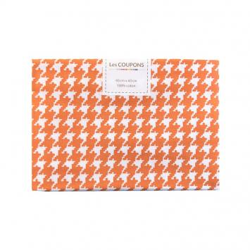 Coupon 40x60 cm coton orange pied de poule