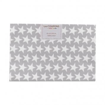 Coupon 40x60 cm coton gris clair étoiles monroe