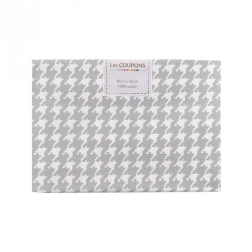Coupon 40x60 cm coton gris clair pied de poule