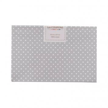 Coupon 40x60 cm coton gris clair petits pois 2mm