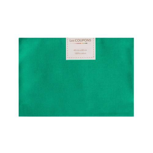 Coupon 40x60 cm coton vert émeraude