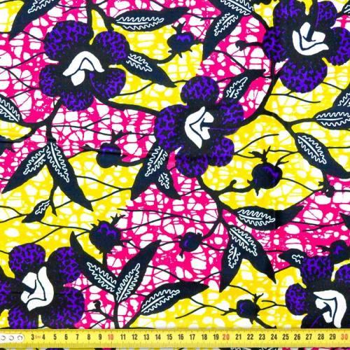 Wax - Tissu africain fleurs hibiscus violettes 25