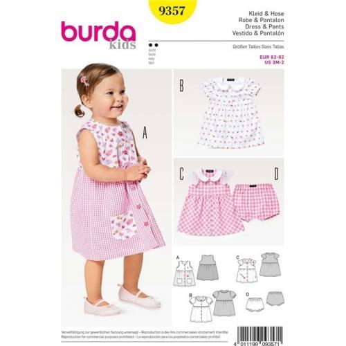 Patron Burda 9357 : Robe & Pantalon Taille 62-92 cm