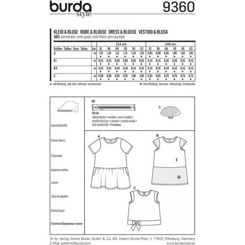 Patron Burda 9360 Robe & Blouse Taille 92-122