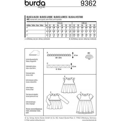 Patron Burda 9362 Blouse & Robe Taille : 92-122 cm