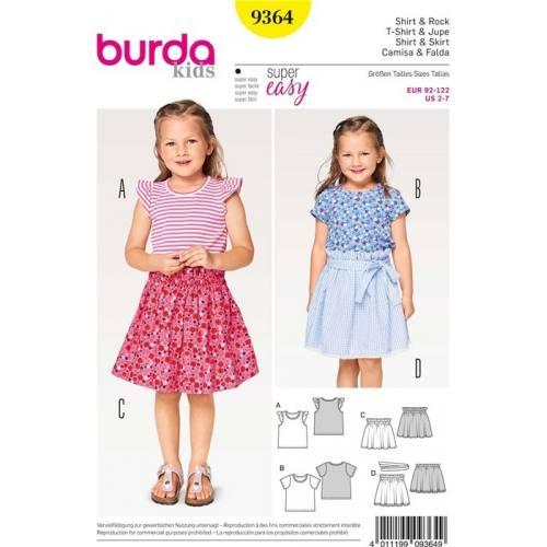 Patron Burda 9364 : T-Shirt & Jupe Taille : 92-122 cm