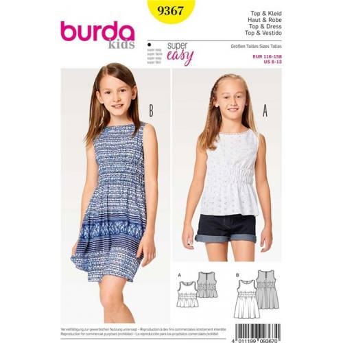 Patron Burda 9367 : Haut & Robe Taille 116-158 cm