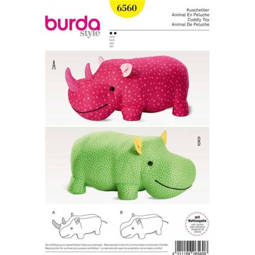 Patron Burda 6560 : Animal en peluche 67 x 33 cm