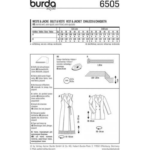 Patron Burda 6505 Gilet & Veste Taille 34-46