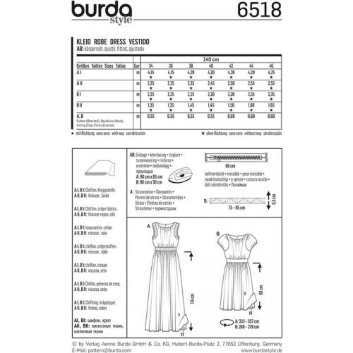 Patron Burda 6518 Robe Taille 34-46