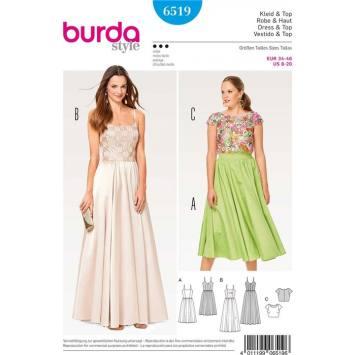 Patron Burda 6519 Robe & Haut Taille 34-46