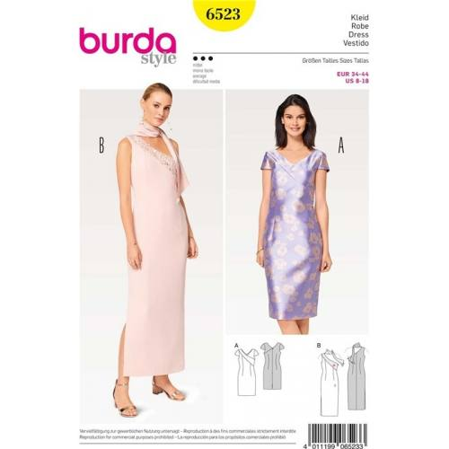 Patron Burda 6523 : Robe Taille 34-44