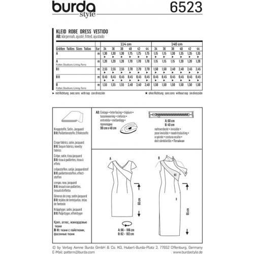 Patron Burda 6523 Robe Taille 34-44