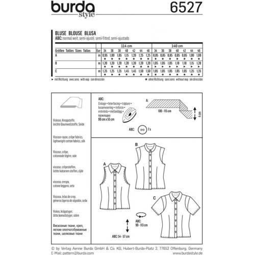 Patron Burda 6527 Blouse Taille 34-46